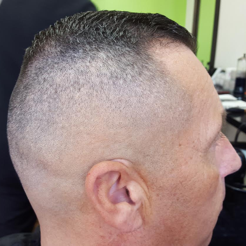 Side view of adults short crew cut